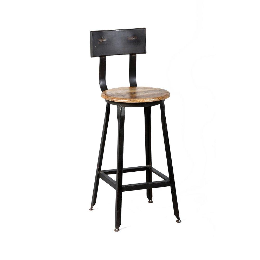 Tabouret de bar - Lot de 2 chaises de bar en acier assise bois - ATELIER METAL photo 1