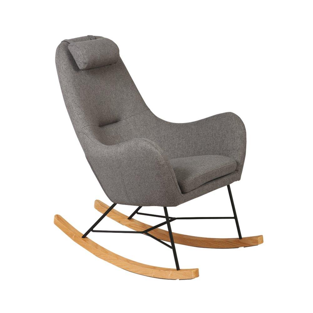 Fauteuil - Rocking chair en tissu gris - ANSELME photo 1