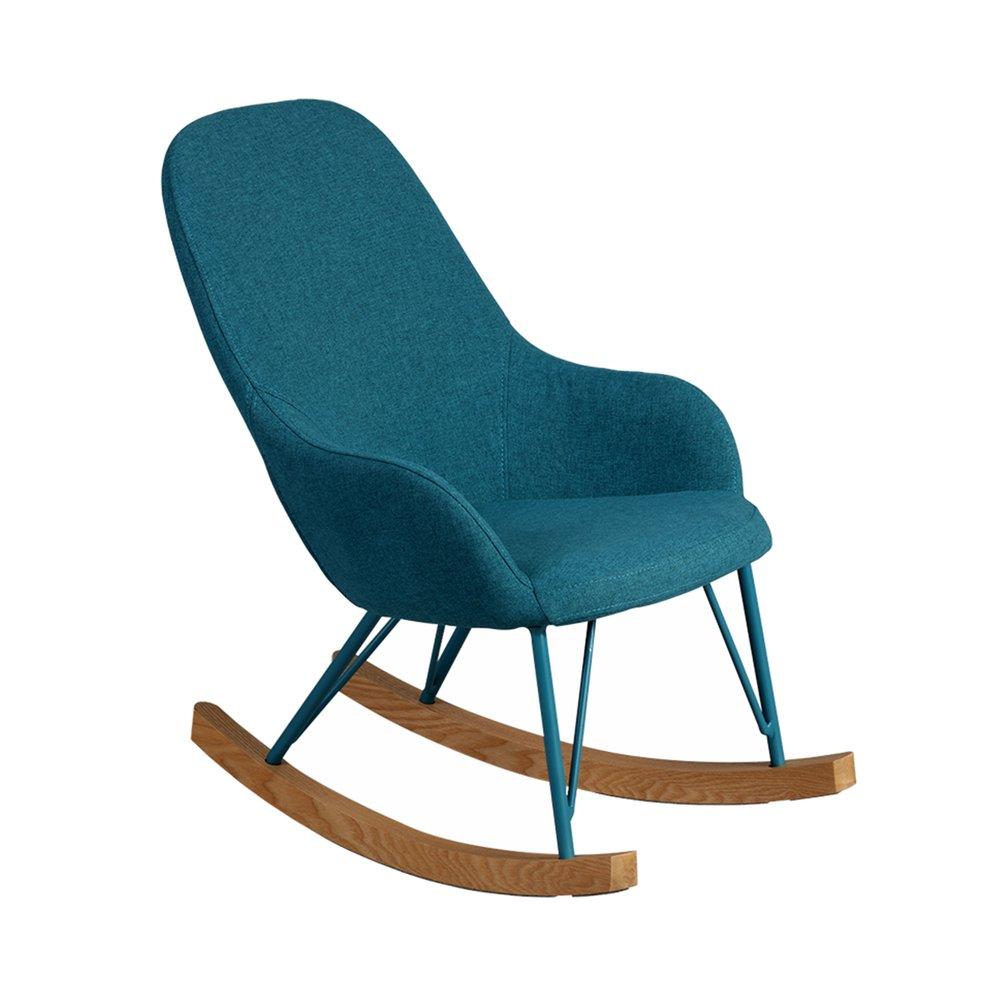 Fauteuil - Rocking chair en tissu turquoise - ANSELME photo 1