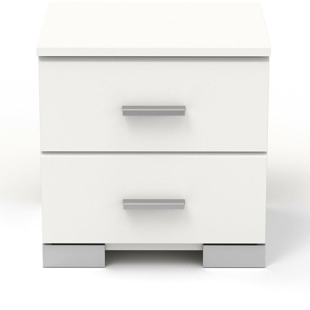Chevet - Chevet 2 tiroirs blanc - HUGO photo 1