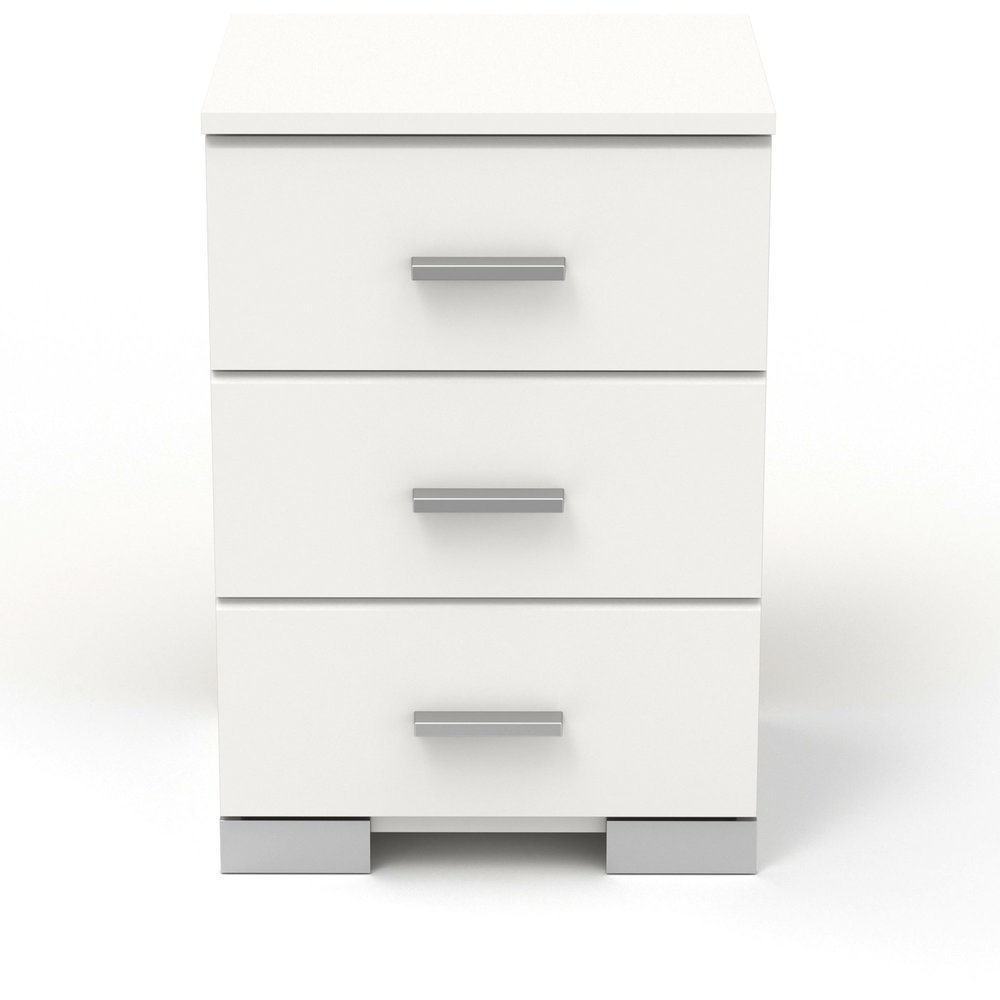 Chevet - Chevet 3 tiroirs blanc - HUGO photo 1