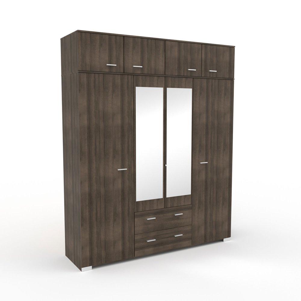 Armoire - Armoire 8 portes et 2 tiroirs 198x241,5x55 cm chêne foncé - LIVIO photo 1