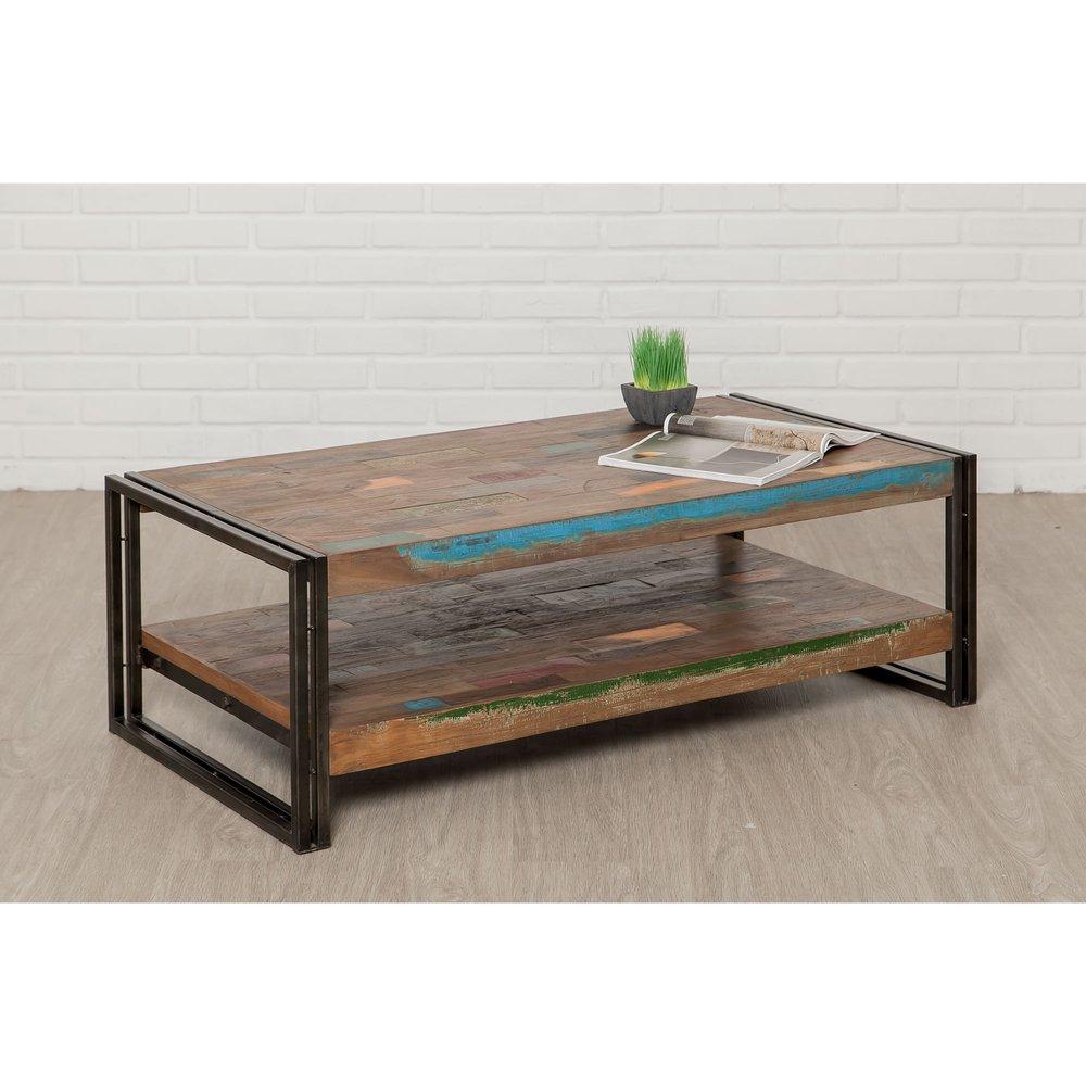 Table basse - Table basse 120 cm double plateaux en teck recyclé - TUNDRA photo 1