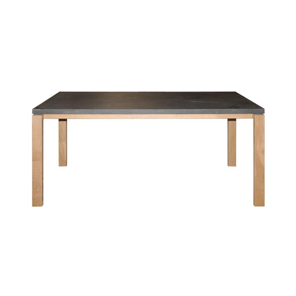 Table En Béton Ciré Et Bois table repas 180cm en chêne massif avec plateau effet béton