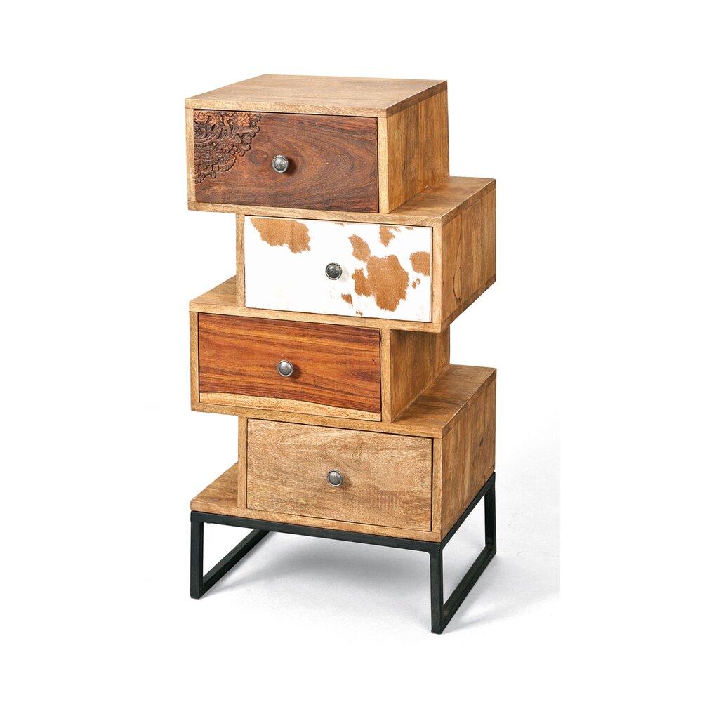 Chiffonnier - Chiffonnier 4 tiroirs en bois massif - OSAKA photo 1
