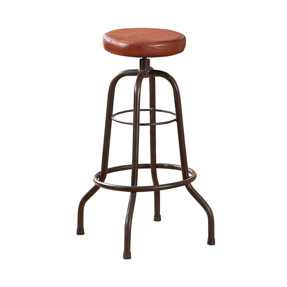 Tabouret - Chaise bistrot assise en cuir marron - ATELIER METAL photo 1