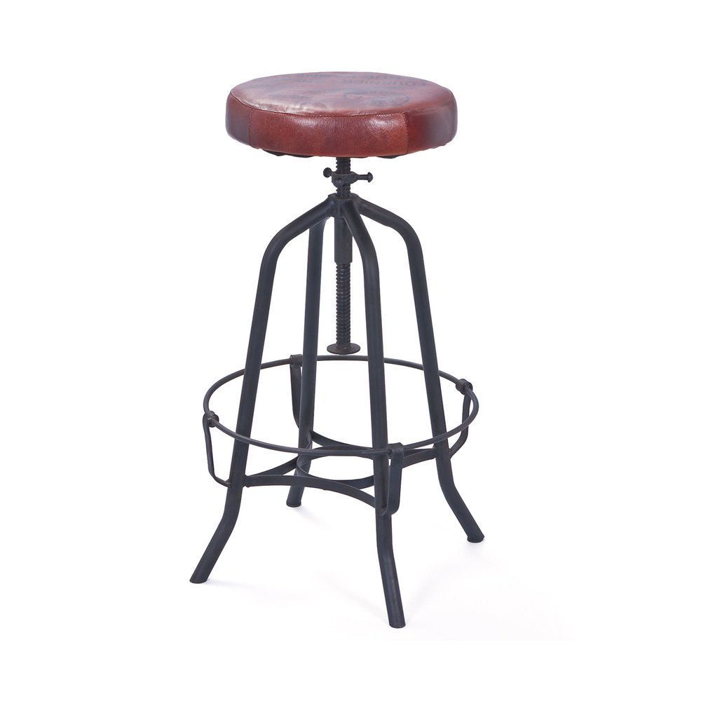 Tabouret de bar - Tabouret de bar assise en cuir marron - ATELIER METAL photo 1