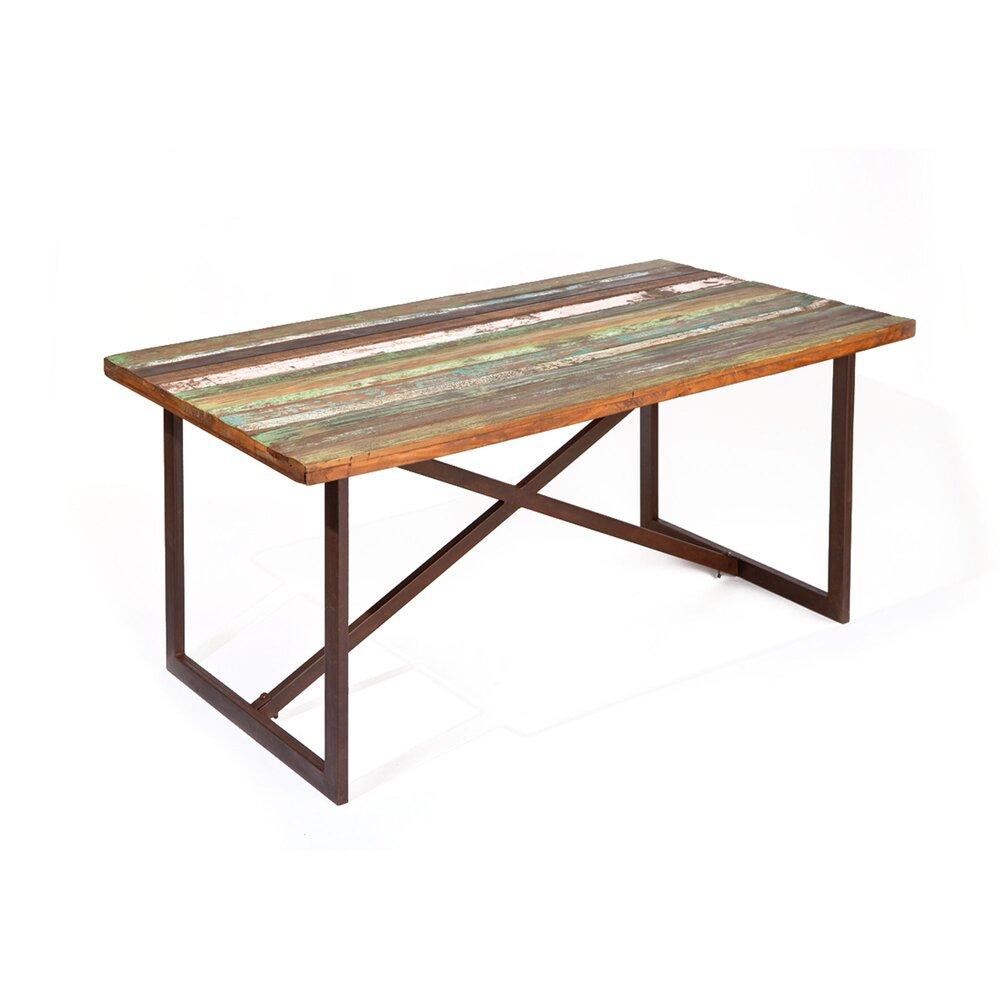 Table - Table repas en bois recyclé et métal - ATELIER METAL photo 1