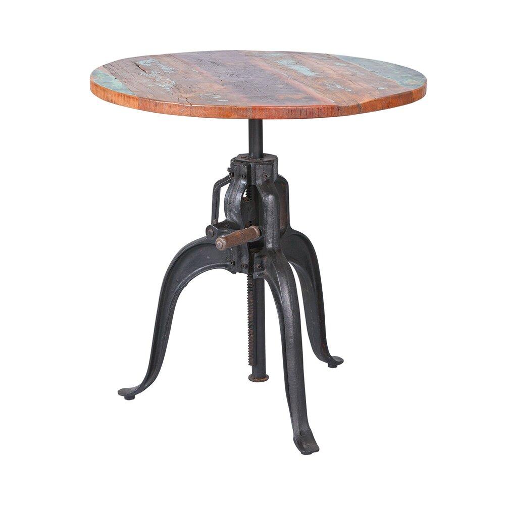 Table - Table ronde en bois massif multicolore et métal - ATELIER METAL photo 1