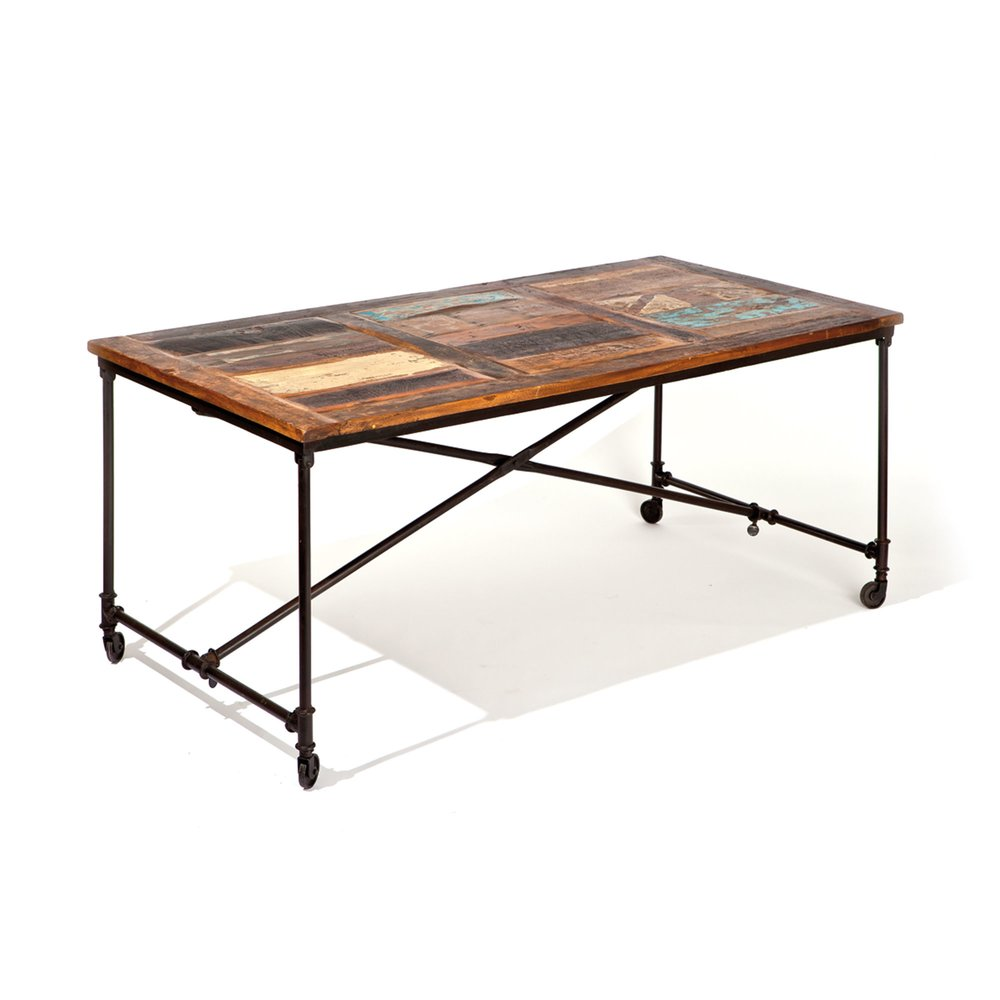 Table - Table à manger en bois multicolore et métal - ATELIER METAL photo 1