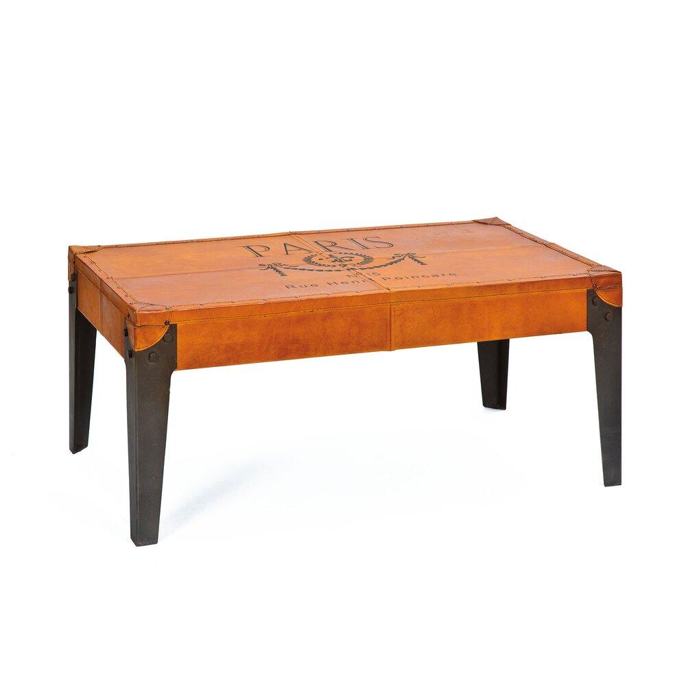 Table basse - Table basse 110 cm en cuir marron et métal - ATELIER METAL photo 1