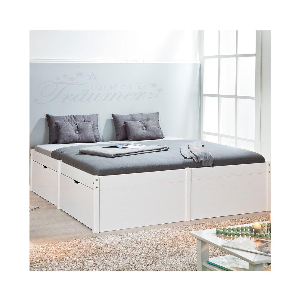 Lit 180x200 Cm Avec Rangements En Pin Massif Blanc Gap Maison Et Styles