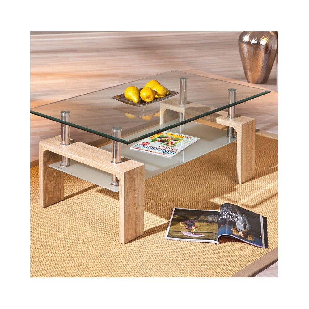 Table basse - Table basse avec double plateau en verre naturel - KIMMY photo 1