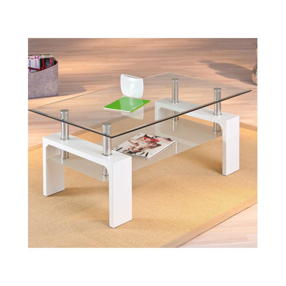 Table basse - Table basse double plateau en verre blanc - KIMMY photo 1