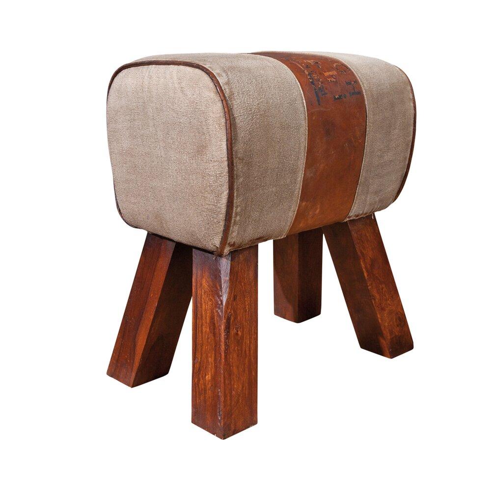 Pouf - Pouf en cuir, canvas et pieds en bois massif - RETRO photo 1
