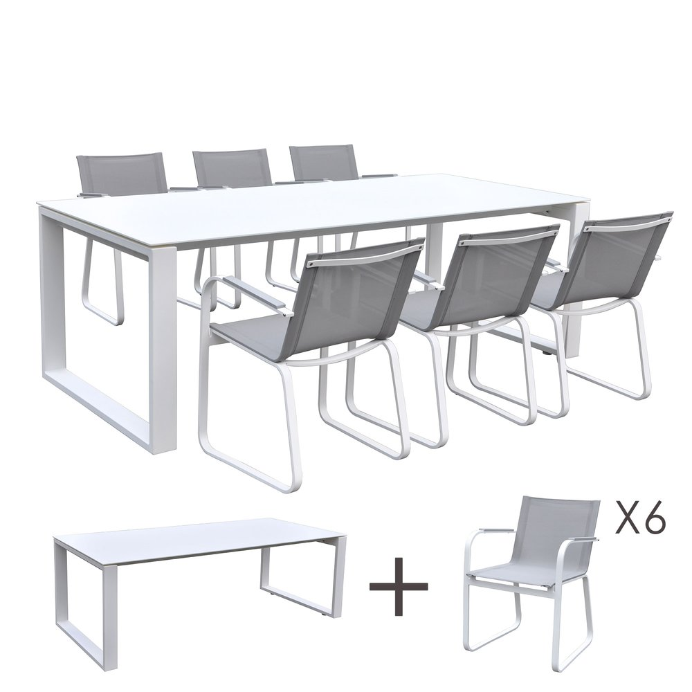 Table de jardin en aluminium et verre blanc + 6 fauteuils ...