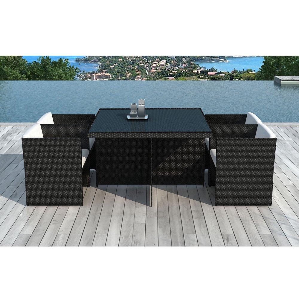 Meuble de jardin - Table de jardin + 4 fauteuils encastrables en résine tréssée noire photo 1