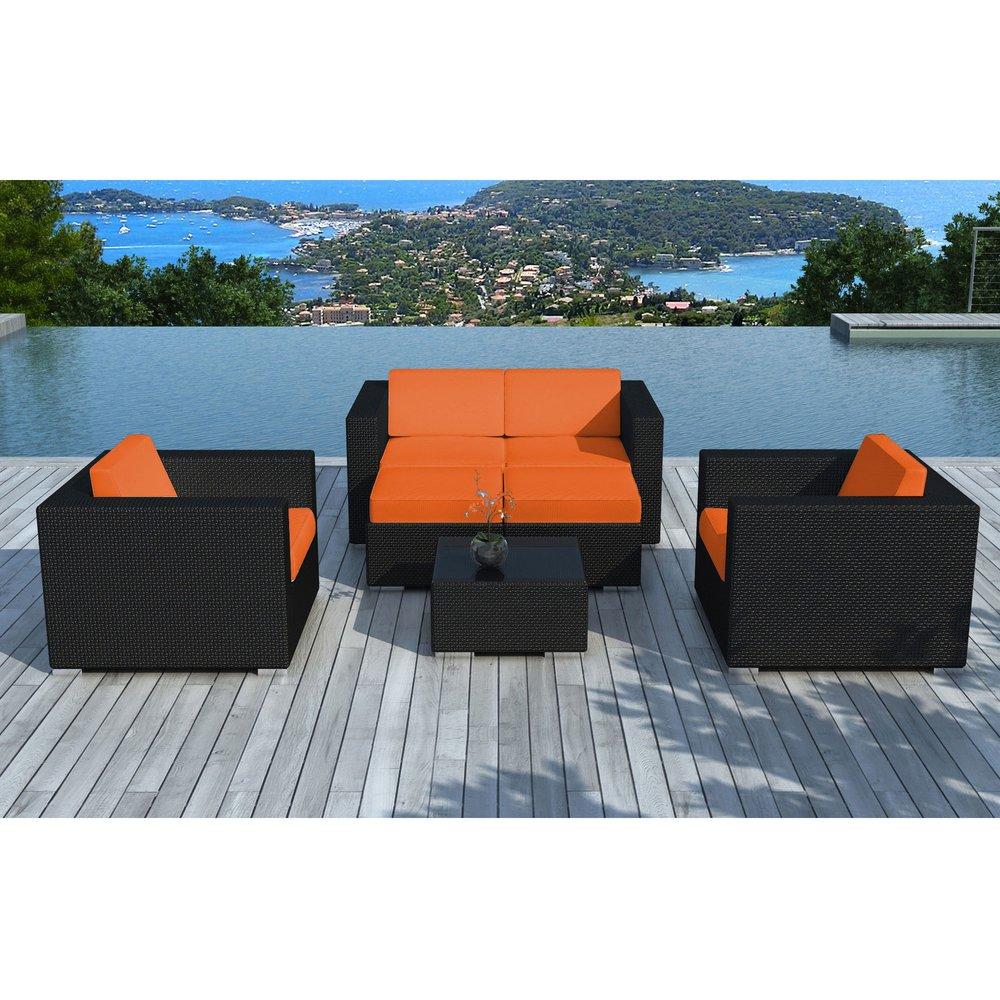 Meuble de jardin - Salon de jardin en résine tréssée noire et coussins orange - LIVOURNE photo 1