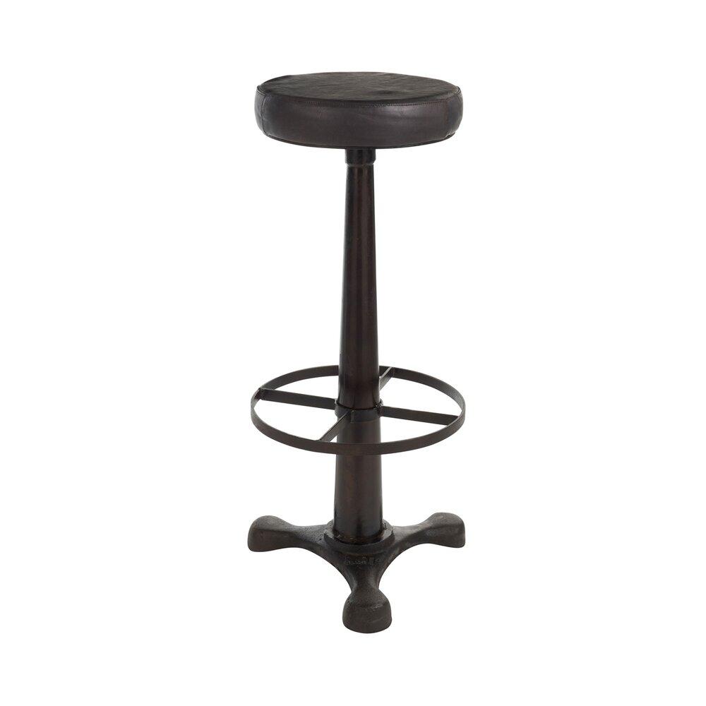 Tabouret de bar - Tabouret de bar en cuir et métal noir - RETRO photo 1