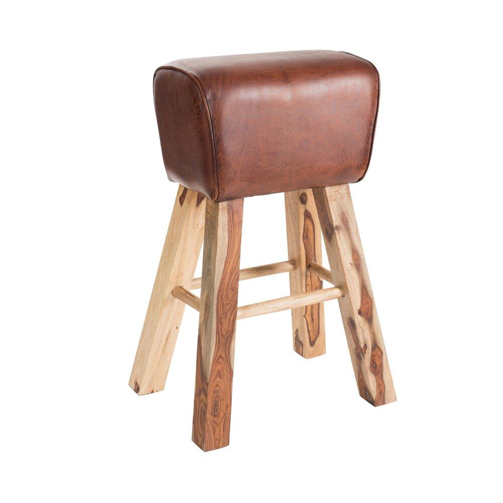 Tabouret - Tabouret en cuir et bois 55x75x45 cm - RETRO photo 1