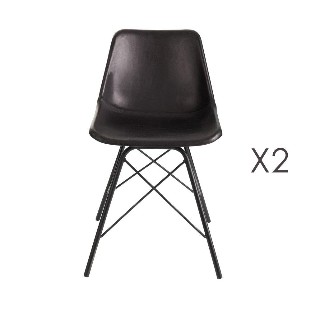 Chaise - Lot de 2 chaises repas en cuir noir et pieds métal photo 1