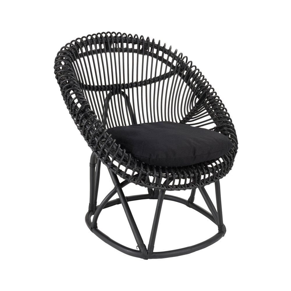 Chaise - Chaise en rotin noir avec coussin noir - SUZANNA photo 1