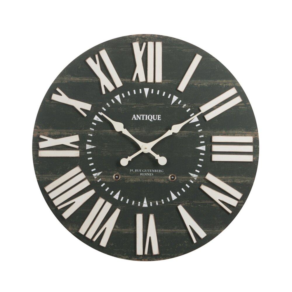 Horloge - Pendule - Horloge antique ronde 80 cm en bois noir photo 1
