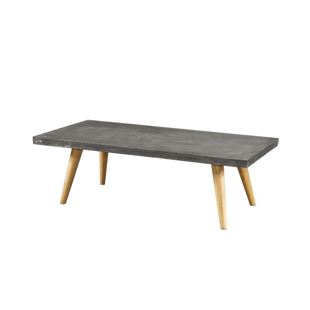 Table basse - Table basse 120x38x60 cm en béton gris foncé et chêne photo 1