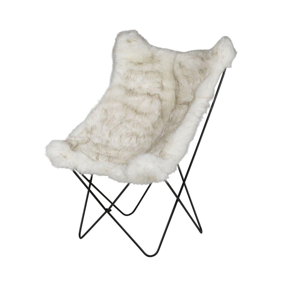 Fauteuil - Lot de 2 fauteuils vintage en fourrure blanche et métal - ANDREW photo 1