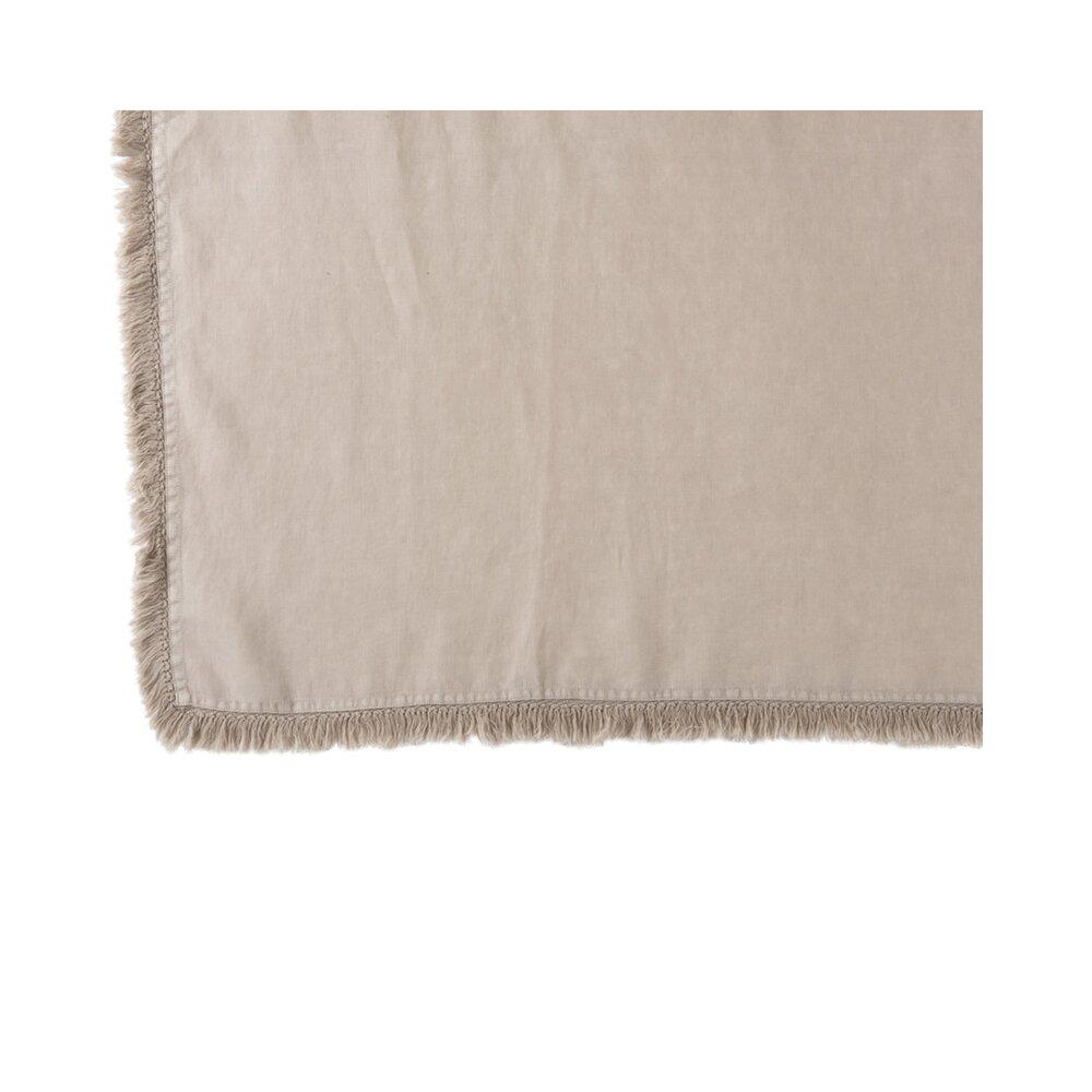 Couvre-lits et accessoires - Plaid à franges 150x200 cm en lin beige - OMAHA photo 1