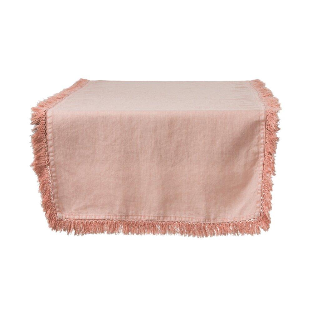 Linge de table - Chemin de table à franges 150x45 cm en lin orange - OMAHA photo 1