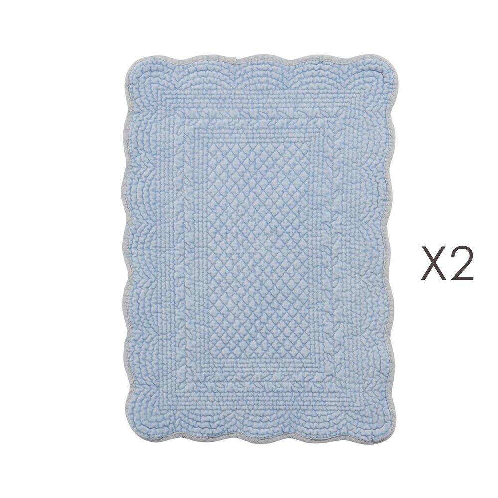 Linge de table - Lot de 2 set de table 35x50 cm en coton bleu clair photo 1