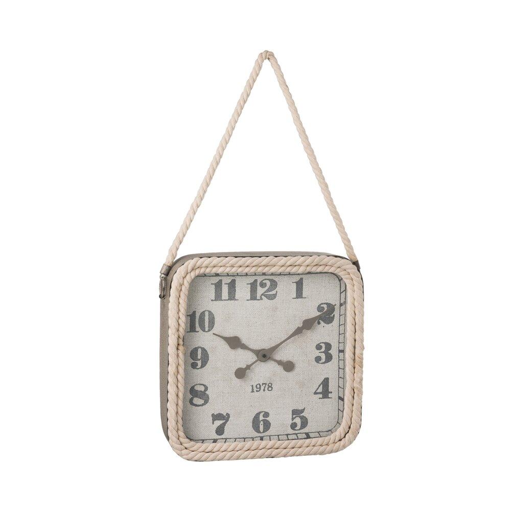 Horloge - Pendule - Horloge carrée 40 cm en métal gris et corde photo 1
