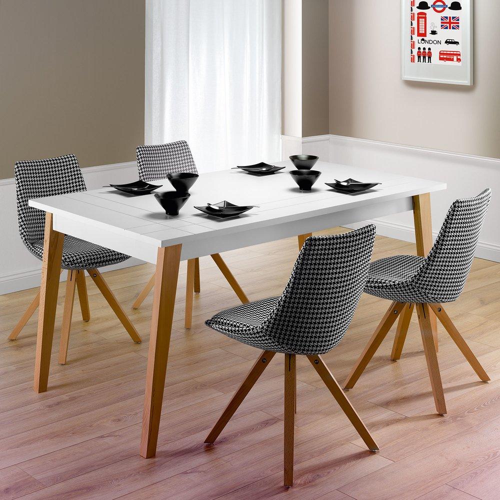 Table Salle A Manger Carré Avec Rallonge table à manger avec allonges 160/250x75x90 cm blanc