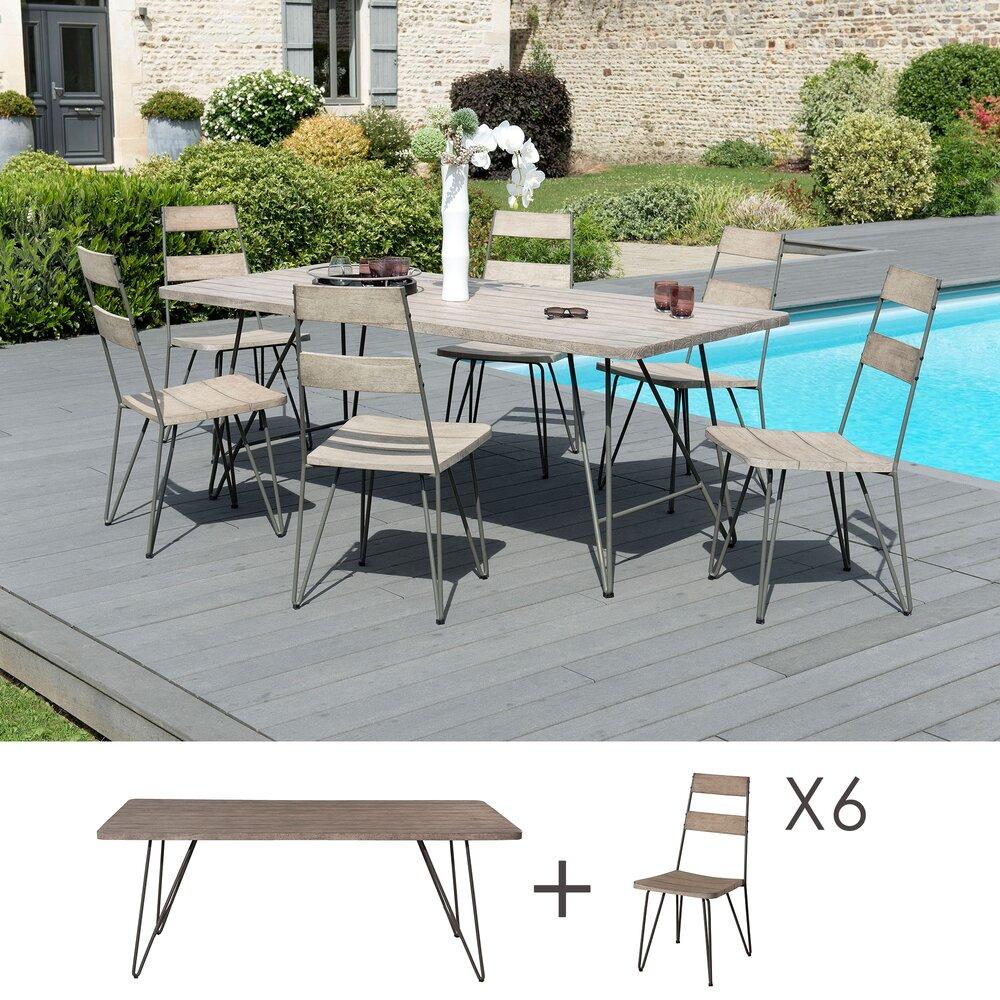 Meuble de jardin - Ensemble table 200 cm et 6 chaises en teck et acier - PHUKET photo 1