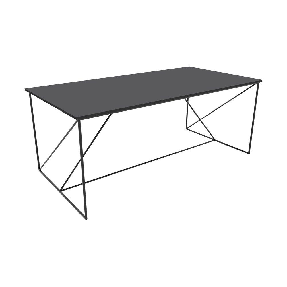 Table - Table à manger 180 cm en métal gris et noir - IRON photo 1
