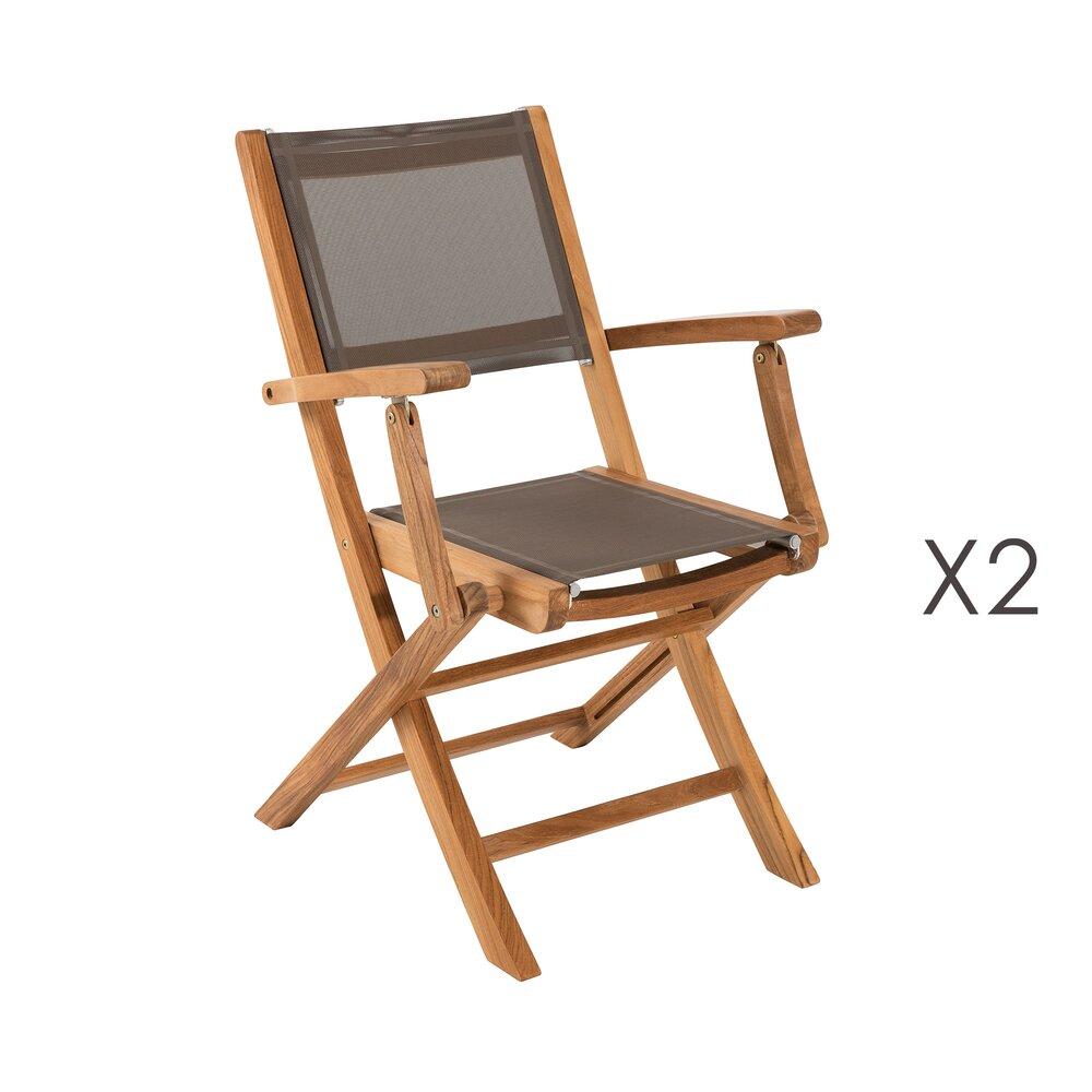 Lot de 2 fauteuils pliants en teck et textilène - GARDENA ...
