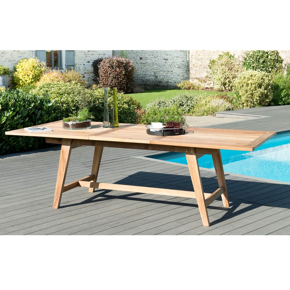 Meuble de jardin - Table rectangulaire extensible 180/240 cm en teck - GARDENA photo 1