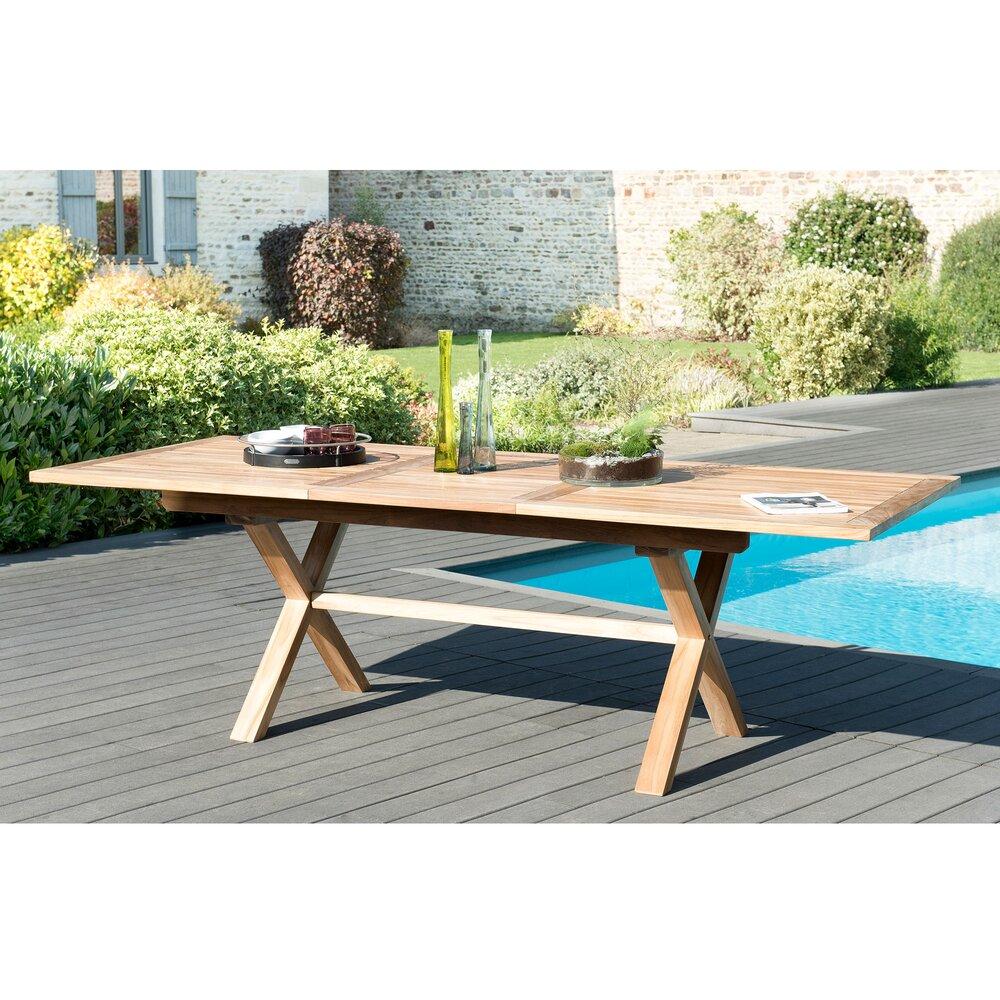 Meuble de jardin - Table rectangulaire 180/240 cm pieds croisés en teck - GARDENA photo 1