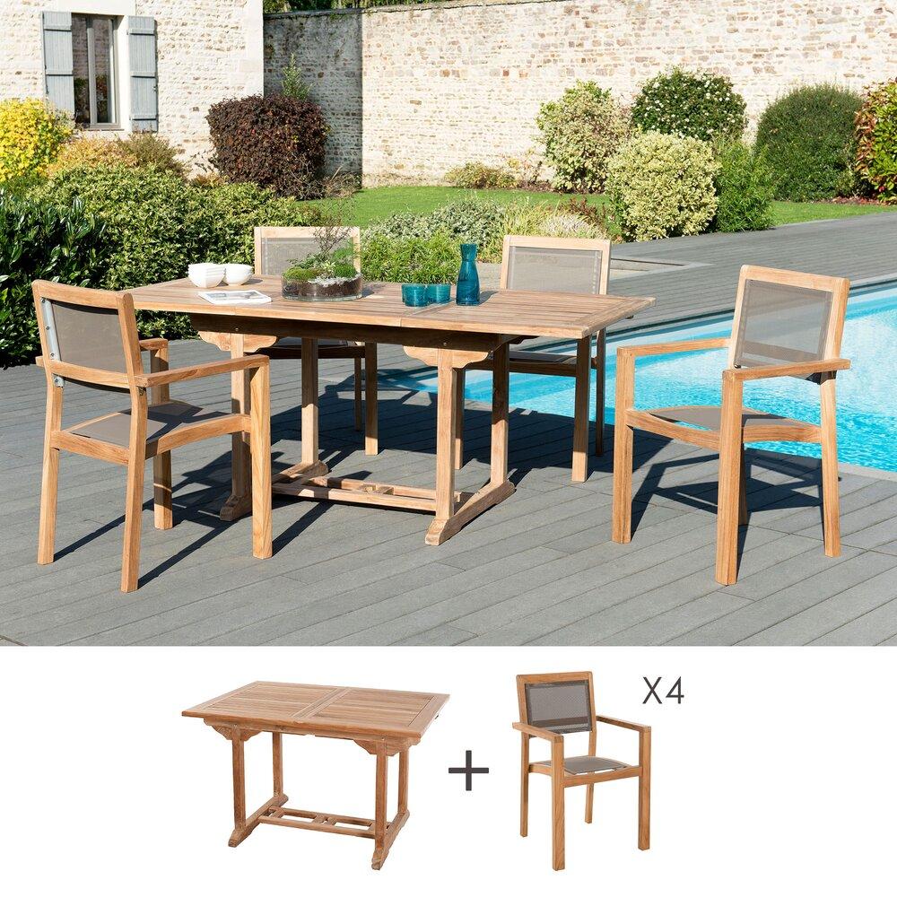 Meuble de jardin - Ensemble table 120 cm + 4 fauteuils en teck et textilène - GARDENA photo 1