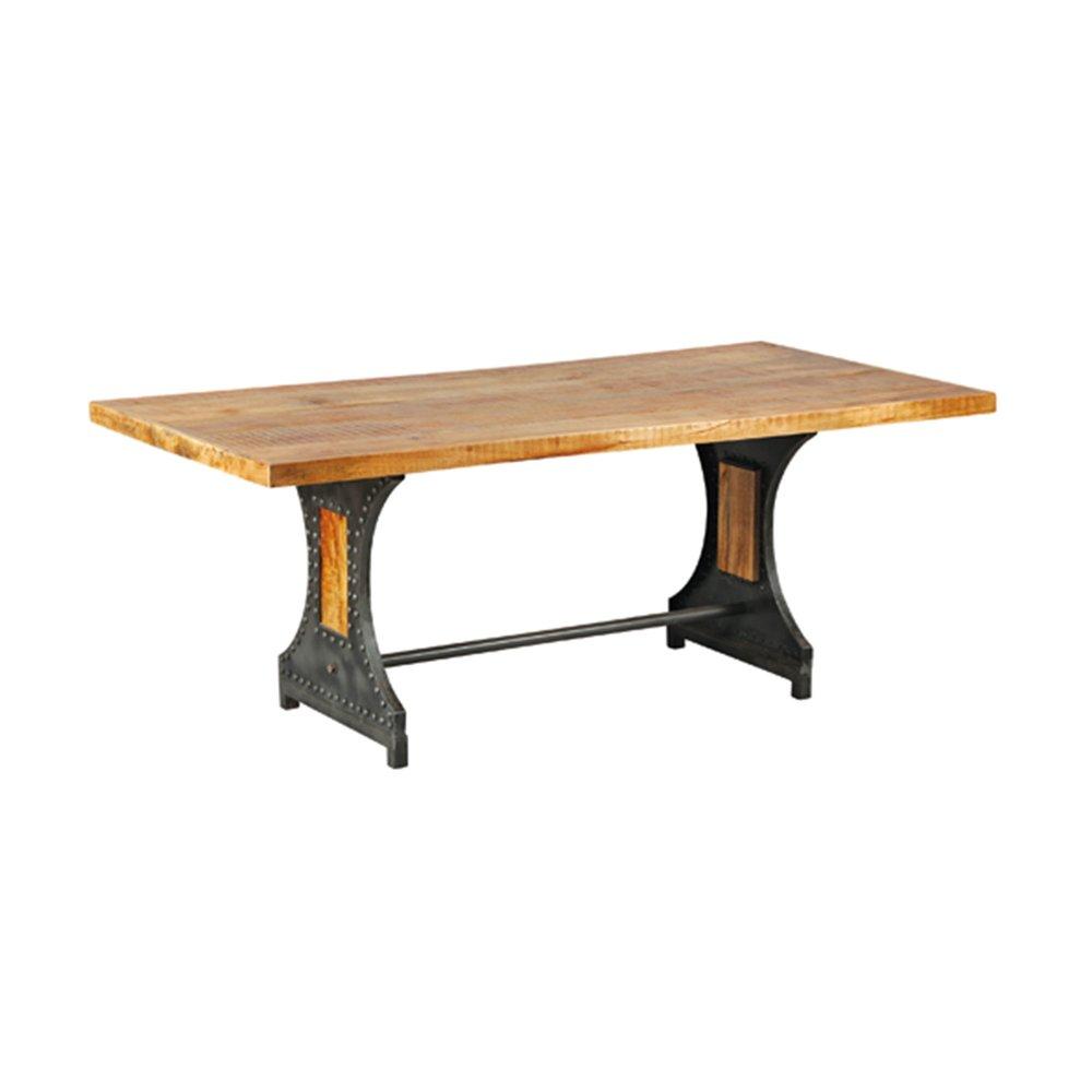Table - Table à manger 200 cm en bois naturel et métal - ATELIER METAL photo 1