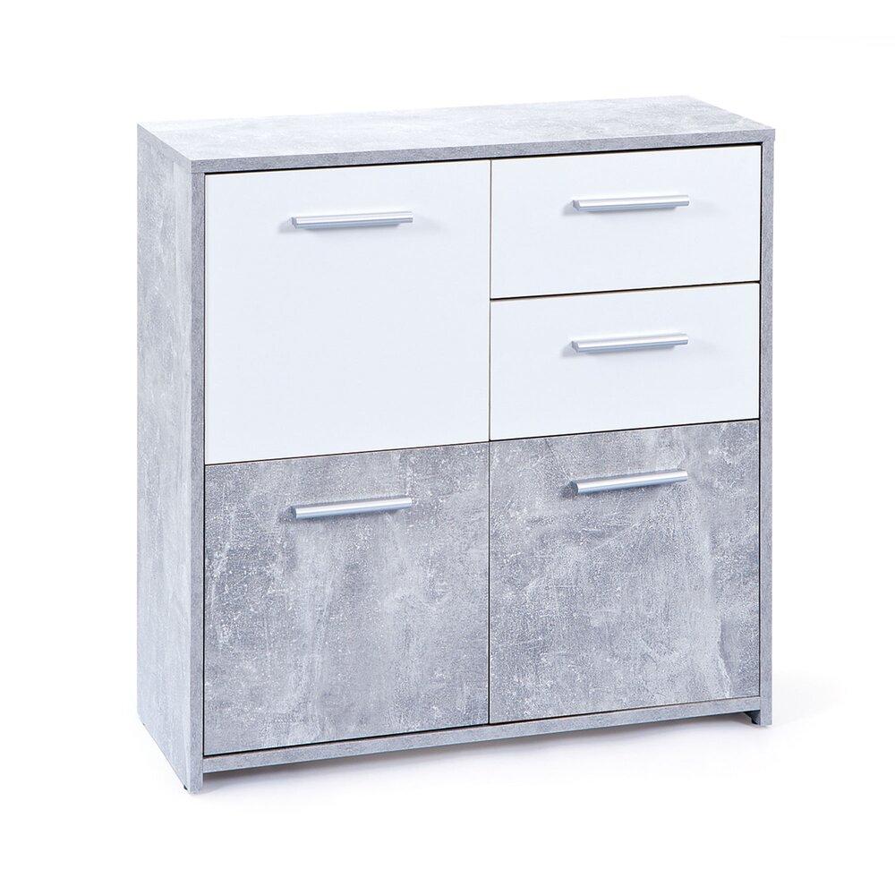 Commode - Coiffeuse - Commode 3 portes et 2 tiroirs béton et blanc - CONCRETE photo 1