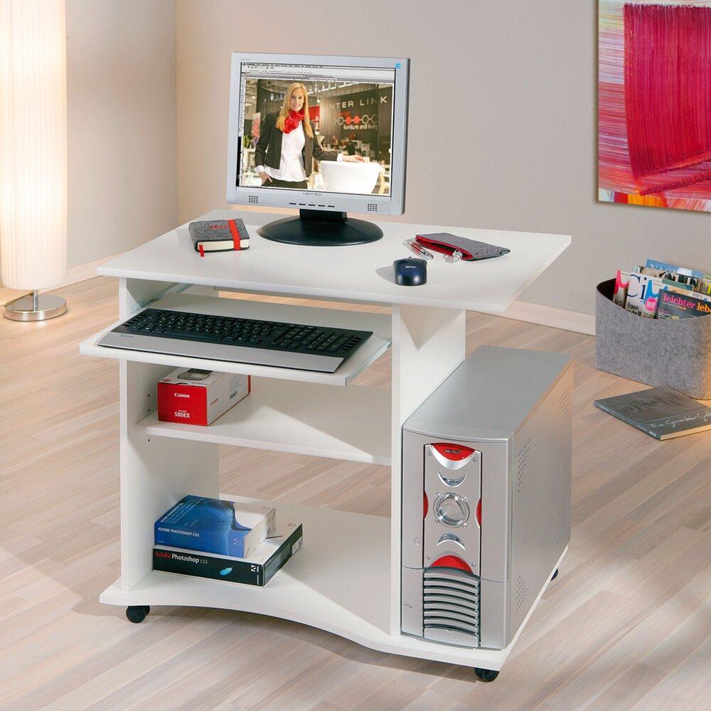 Bureau - Bureau informatique 80x75x50 cm avec roulettes blanc photo 1