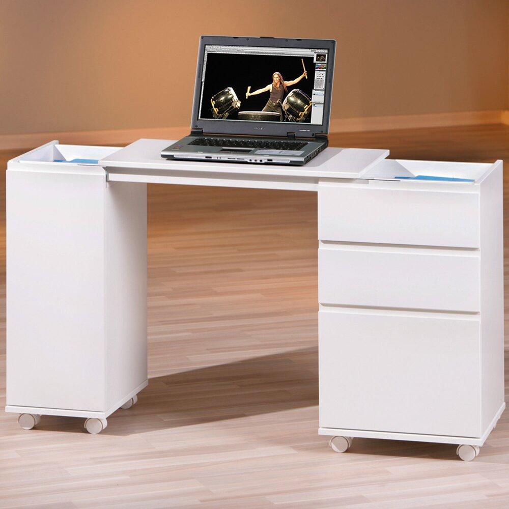 Bureau - Bureau modulable 1 porte et 3 tiroirs blanc - PROCESS photo 1