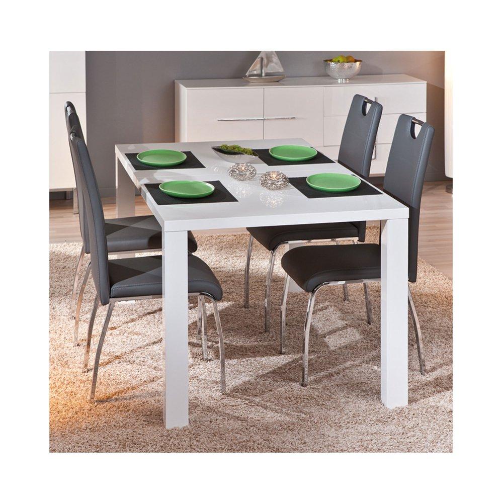 table a manger avec rallonge 160 200x75x90 cm laque blanc