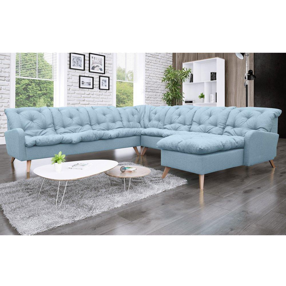 Canapé - Canapé d'angle à droite 8 places en microfibre bleu - TWIST photo 1