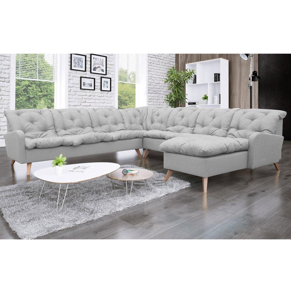 Canapé - Canapé d'angle à droite 8 places en microfibre gris - TWIST photo 1