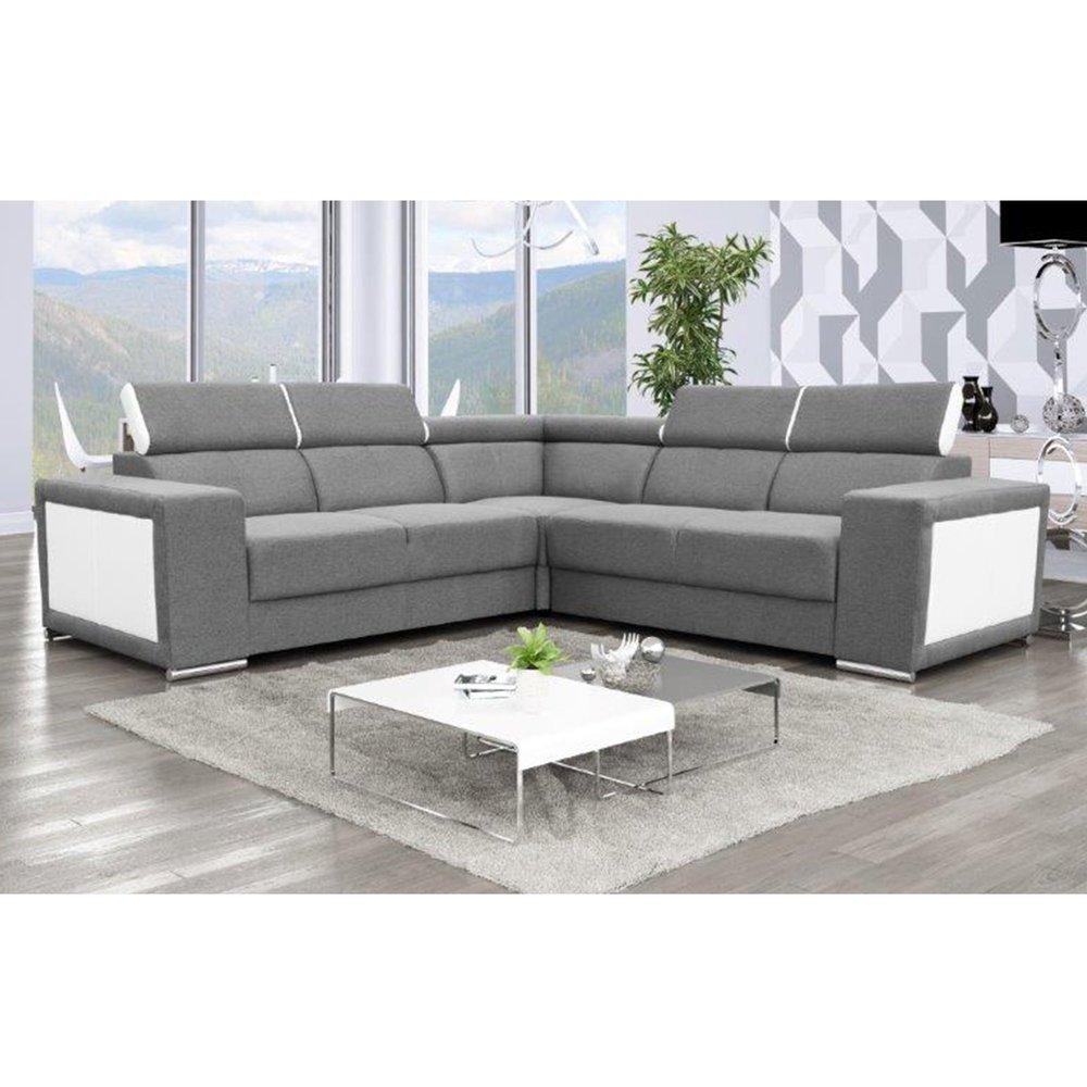 Canapé - Canapé d'angle 6 places en tissu gris et PU blanc - OMAHA photo 1