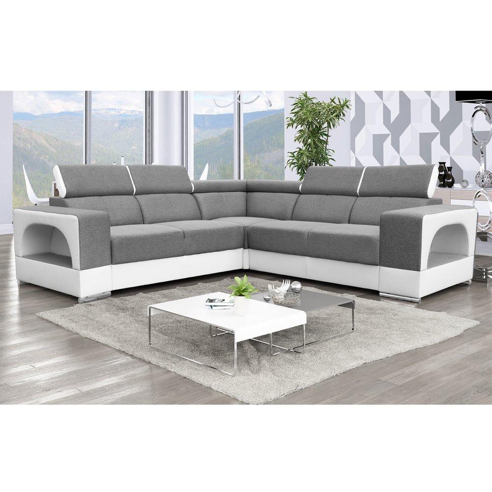 Canapé - Canapé d'angle design 6 places en tissu gris et PU blanc - OMAHA photo 1