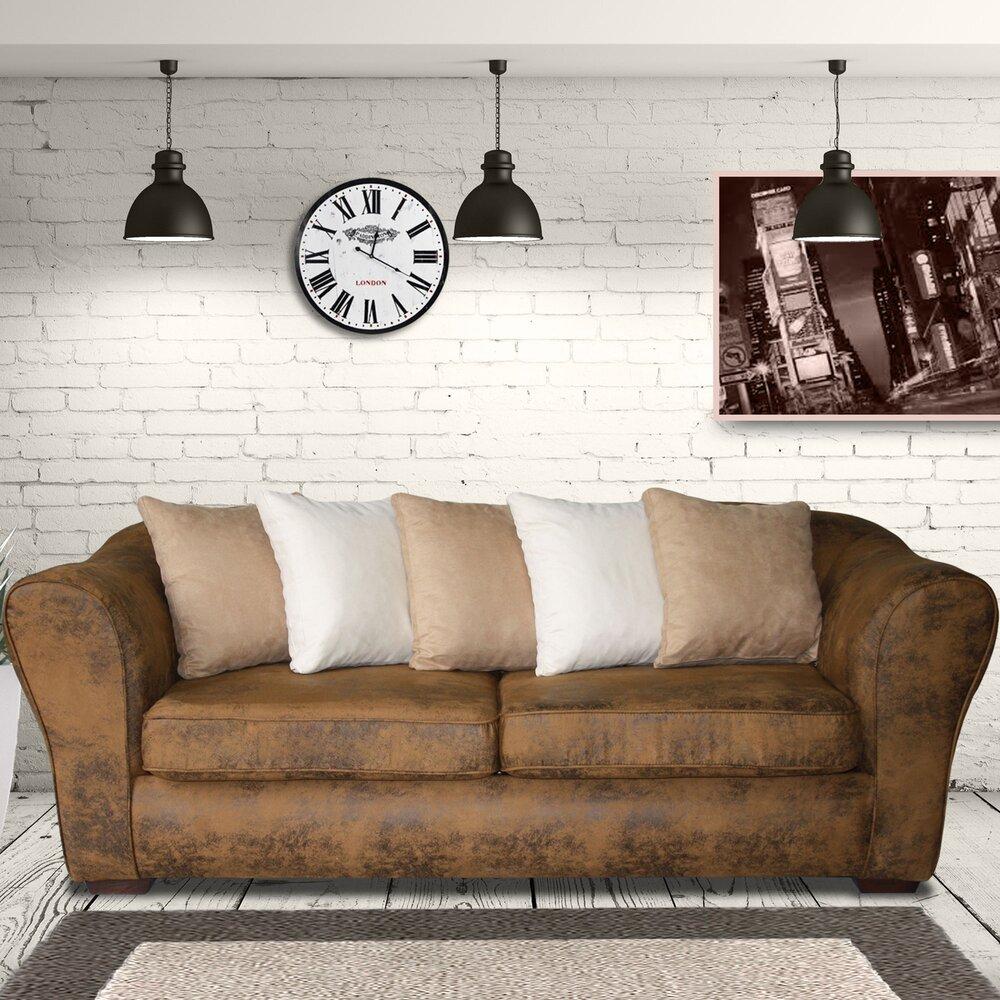Canapé - Canapé fixe 3 places en microfibre esprit vintage, coloris marron vieilli photo 1